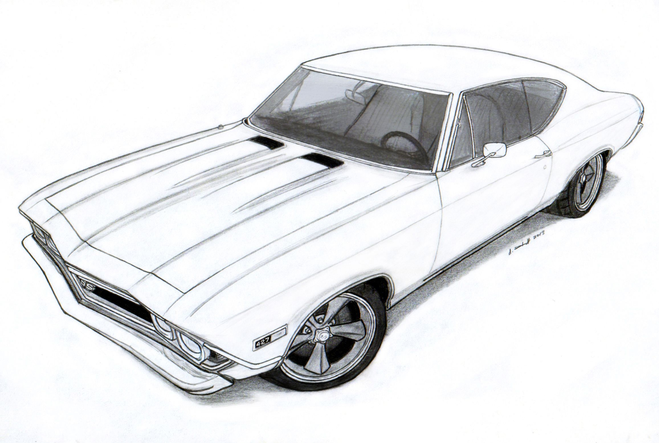 Ss chevelle 1969 clipart image freeuse download 1968 Chevrolet Chevelle SS Pro Touring Drawing by Vertualissimo ... image freeuse download