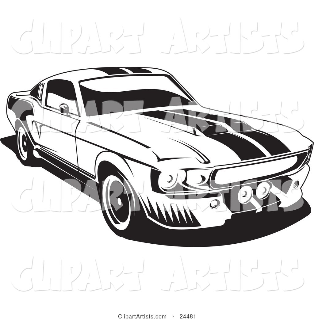 1967 clipart banner royalty free download 1967 Ford Mustang Gt500 Muscle Car With Racing Stipes On The Hood ... banner royalty free download