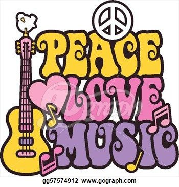 70s groovy clipart graphic black and white 70s Groovy Clip Art | Stock Illustration - Peace Love Music in ... graphic black and white