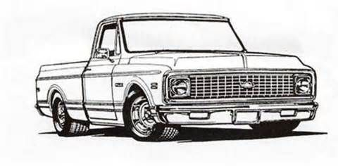 1971 chevy hot rod clipart black and white image transparent library 72 Chevy truck colouring pages | images | 72 chevy truck, Chevy ... image transparent library