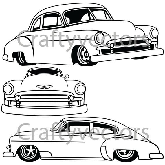 1971 chevy hot rod clipart black and white png transparent library Chevrolet Fleetline Lowered 1951 Vector File | Products | Camper van ... png transparent library