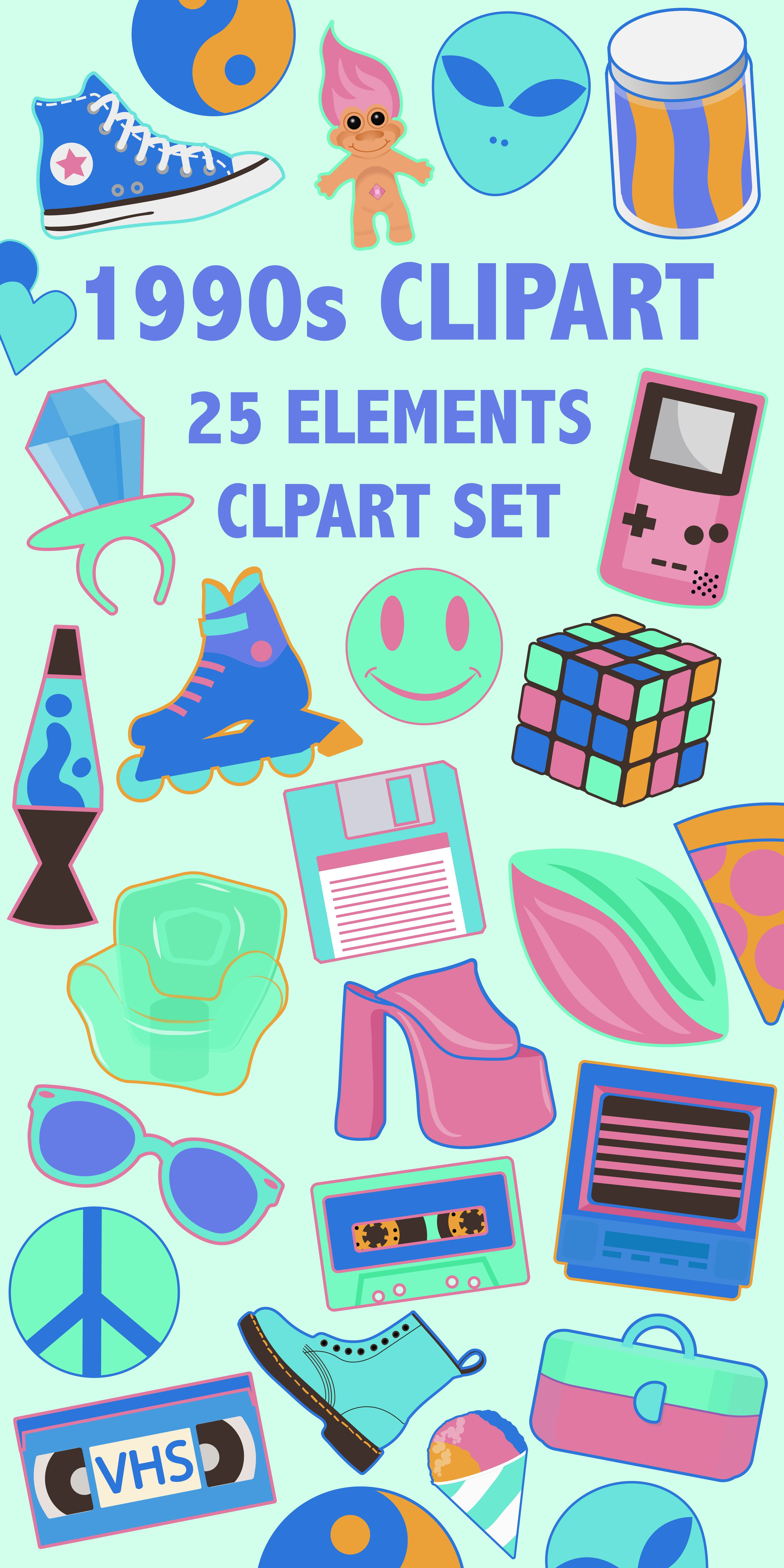 1990s color gameboy clipart picture free 1990\'S CLIPART - Neon colors 90s toys, fashion, and objects ... picture free