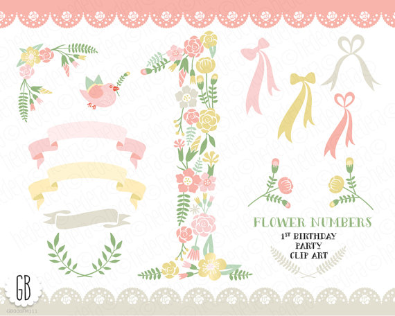 Floral number flower type. 1st baby girl clipart