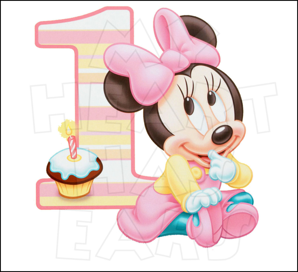 Birthday kid minnie mouse. 1st baby girl clipart