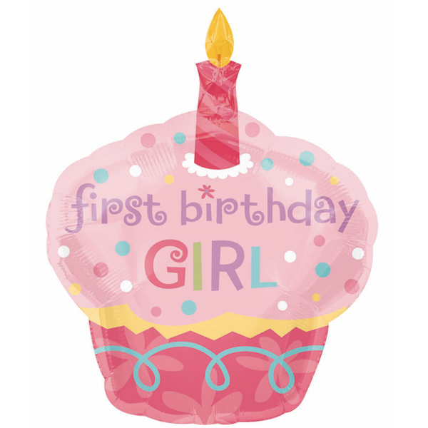 1st baby girl clipart. Birthday kid st cupcake