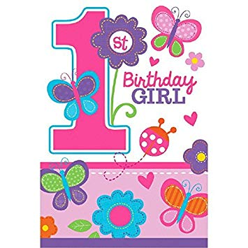 1st birthday butterfly clipart graphic library stock Die-Cut Postcard Invitations | 1st Birthday | Girl | Flowers and  Butterflies Collection graphic library stock