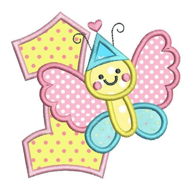 1st birthday butterfly clipart graphic transparent download 1st Birthday Butterfly Applique (SA510-51) graphic transparent download