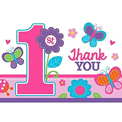 1st birthday butterfly clipart picture royalty free library amscan 1st Birthday Girl Thank You Postcard | Flowers and Butterflies  Collection | 48 Pcs. picture royalty free library