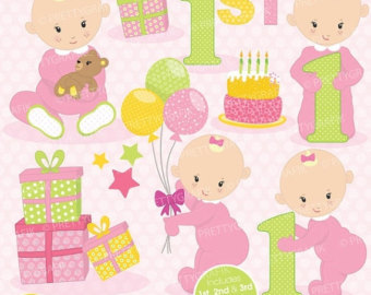 1st birthday clipart girl. First etsy off sale