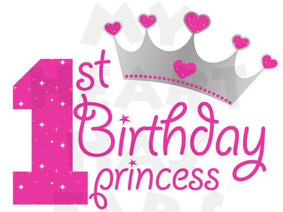 Printable diy st first. 1st birthday clipart girl