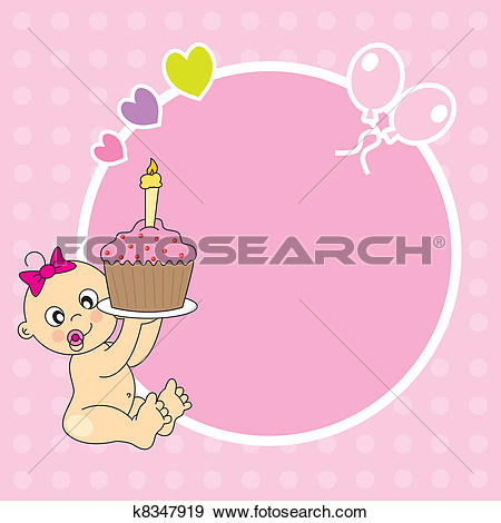 1st birthday clipart girl. Of first cartoon design