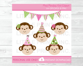 Monkey etsy cute mod. 1st birthday clipart girl