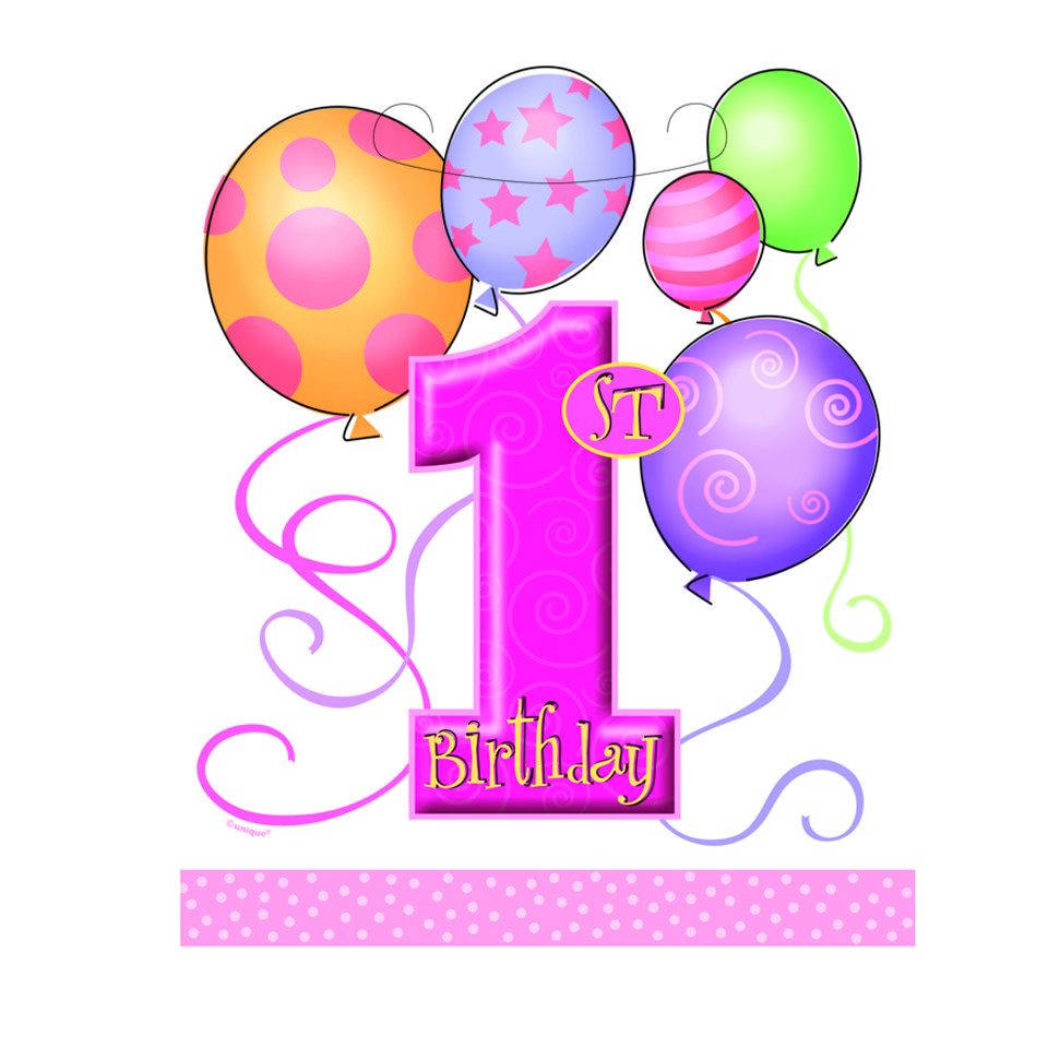First kid balloons st. 1st birthday clipart girl