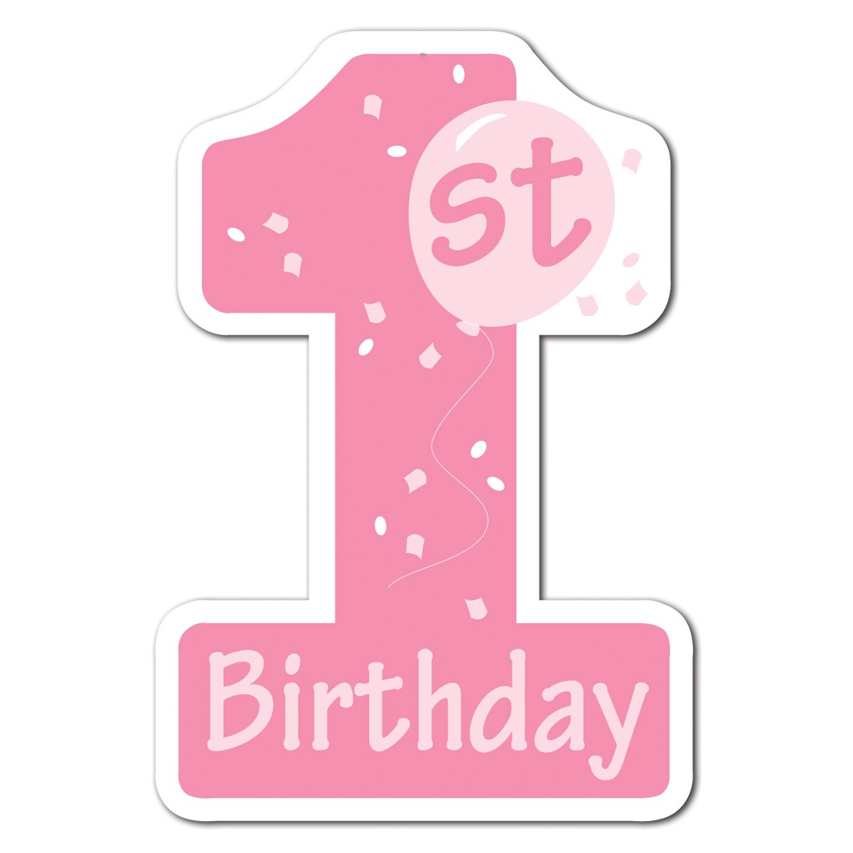 st kid pink. 1st birthday clipart girl