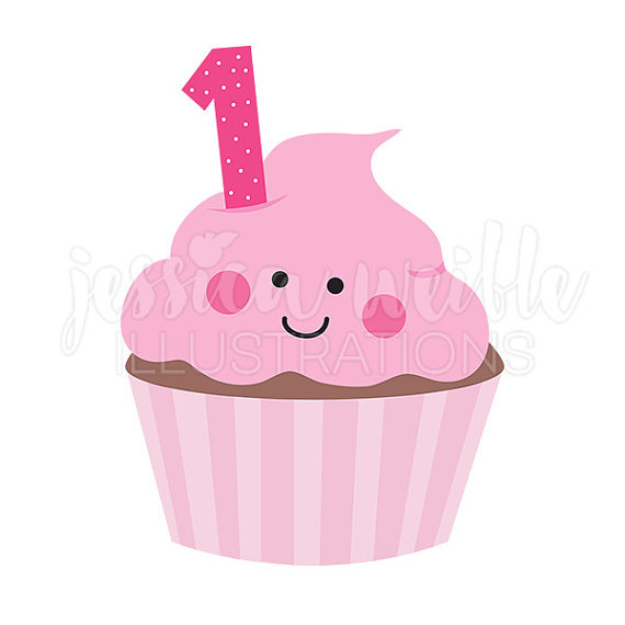 Pink girls first cute. 1st birthday cupcake clipart