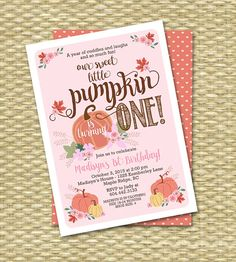 1st birthday pumpkin clipart image royalty free download Pink Pumpkin Patch Handmade Invitations Custom Made for Girl ... image royalty free download