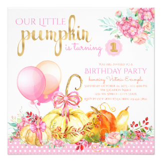 1st birthday pumpkin clipart graphic royalty free stock Pumpkin Birthday Invitations & Announcements | Zazzle graphic royalty free stock