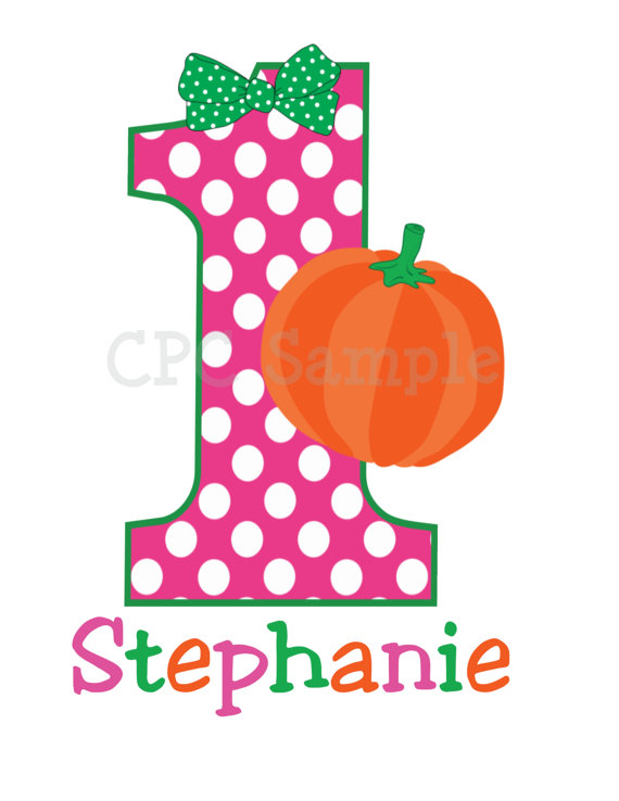 1st birthday pumpkin clipart image Dot Pumpkin Personalized Kids Birthday Shirts image