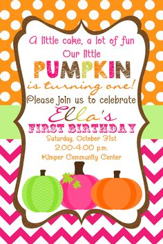 1st birthday pumpkin clipart vector transparent download Pumpkin patch first birthday party invitation printable 1st ... vector transparent download