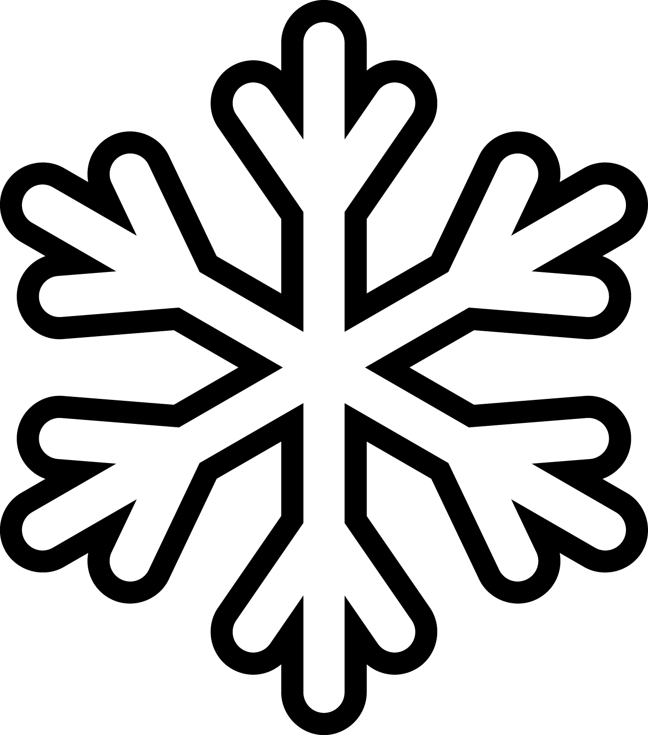 Snowflake clipart black and white vector