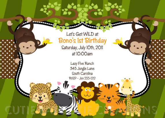 1st jungle animal birthday clipart image stock Items similar to Jungle Safari Birthday Invitation - Printable or ... image stock