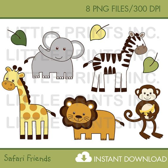 1st jungle animal birthday clipart image download Safari Friends Jungle Animals Clipart / Jungle Animal Clipart ... image download