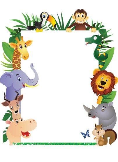 Party invitation boys theme. 1st jungle animal birthday clipart