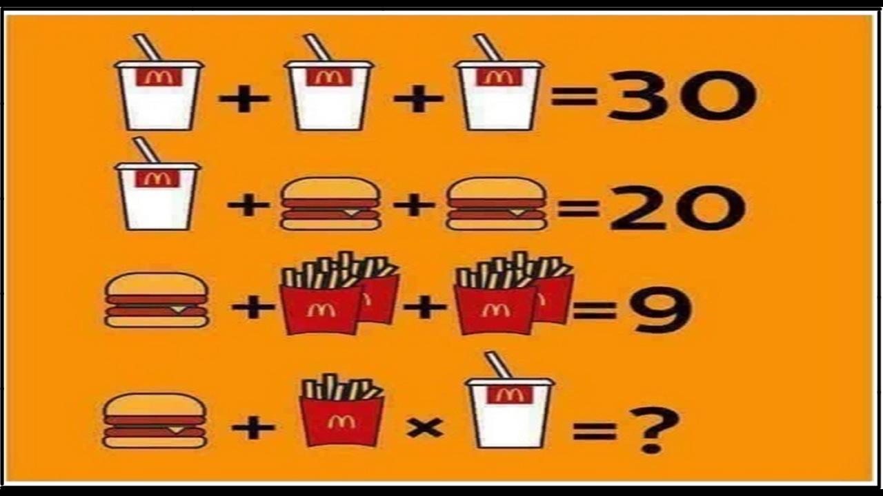 2 2 equally 5 math problems clipart banner freeuse download Mcdonalds math problem drink + drink+fry + burger facebook twitter riddle banner freeuse download
