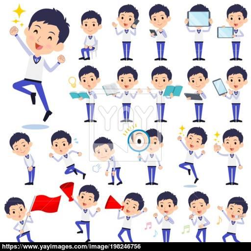 2 6 million people clipart banner royalty free download Store staff Blue uniform men_2 vector | YayImages.com banner royalty free download