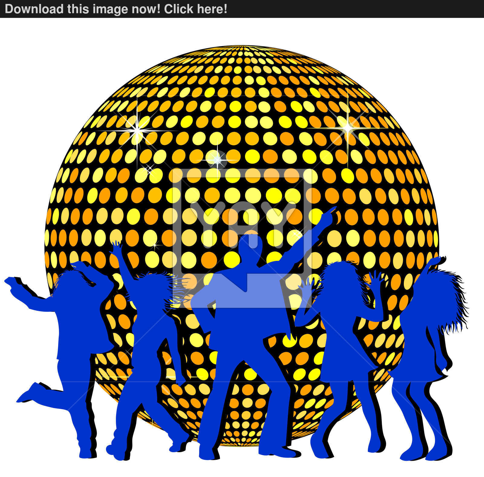 2 6 million people clipart graphic free stock Disco Ball and dancing People image | YayImages.com graphic free stock