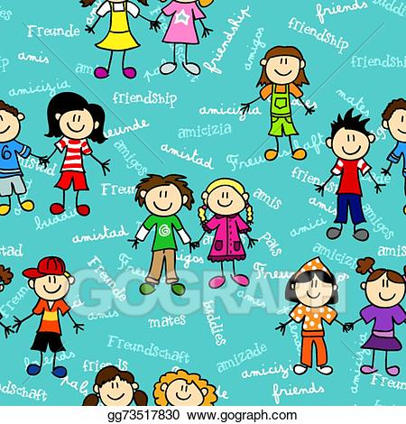 2 amigos clipart banner black and white stock EPS Vector - Seamless kids friendship pattern 2. Stock Clipart ... banner black and white stock