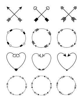 2 arrows heart clipart freeuse download 12 Arrows Clipart- Arrow Wreath Clip Art, Arrow Heart Clipart, Crossed  Arrows freeuse download