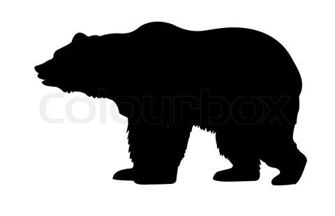 Bear running into truck clipart graphic freeuse stock bear clipart black and white | Stock image of \'silhouette bear ... graphic freeuse stock