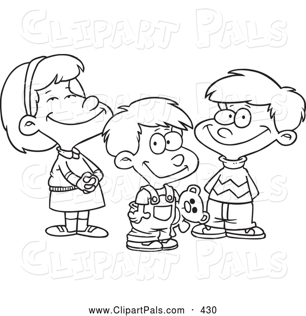 2 boys 1 girl clipart jpg transparent stock Pal Clipart of a Coloring Page of a Small Girl and Two Boys by Ron ... jpg transparent stock