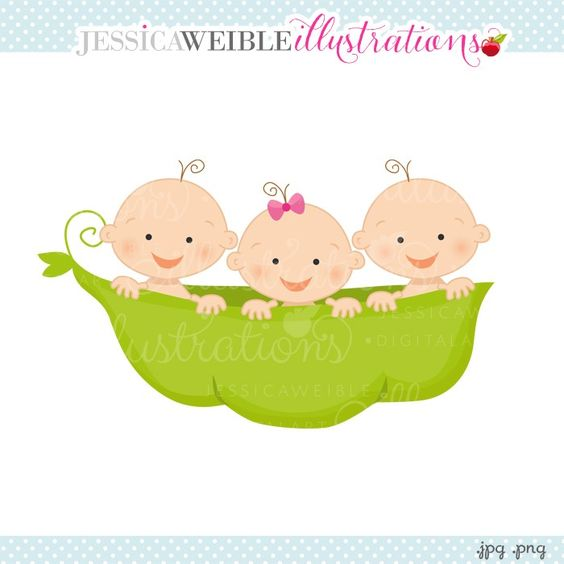 2 boys 1 girl clipart vector freeuse download Pea Pod Triplets 2 Boys 1 Girl Clipart - JW Illustrations | Pea ... vector freeuse download