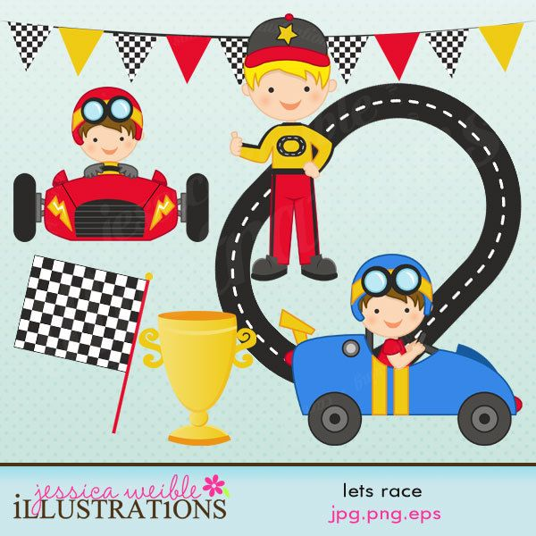 Adorable vehicle clipart vector free Lets Race Cute Digital Clipart for Card Design, Scrapbooking, and ... vector free