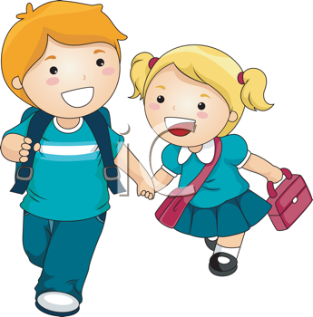 Royalty Free Clipart Image of Two Children Going to School ... graphic black and white library