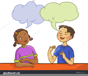 Children speaking clipart picture black and white library Clipart Two Children Talking | Free Images at Clker.com - vector ... picture black and white library