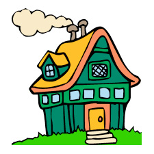 2 children in a new house clipart