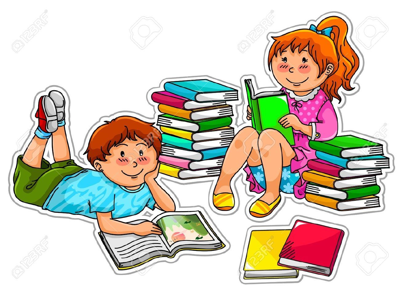 2 children reading clipart image Two kids reading clipart 2 » Clipart Portal image