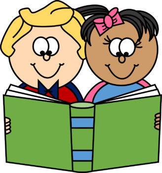 Two kids reading clipart banner free stock Two Kids with a Book Clip Art banner free stock