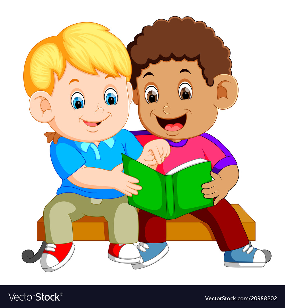 2 children reading clipart freeuse library Two boys reading book on bench freeuse library
