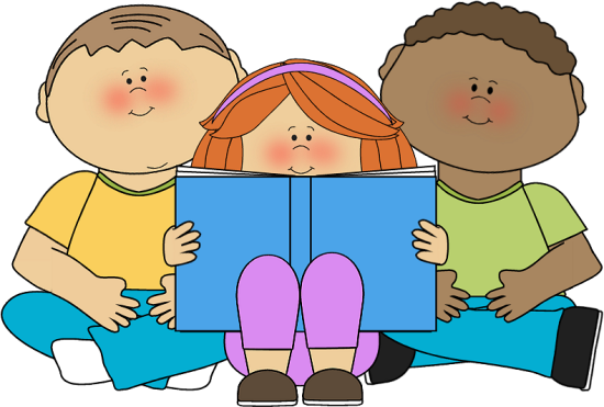 Students reading books clipart