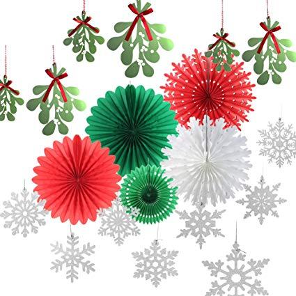 2 color xmas clipart vector transparent download SUNBEAUTY Christmas Color Paper Fans Decorations Kit Mistletoe Garlands  Glitter Silver Snowflake Ornaments Winter Xmas Party Supplies 14 Pieces  (Red ... vector transparent download