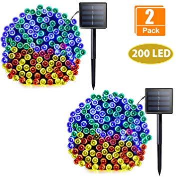 2 color xmas clipart graphic royalty free download Sunlane Solar String Lights, 2 Pack 72ft/22m 200 LED 8 Modes, Solar Powered  Lights Outdoor Waterproof Christmas Fairy Lights for Xmas Tree Garden ... graphic royalty free download