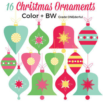 2 color xmas clipart jpg free library Clip Art: Vintage Christmas Ornaments, Red Blue Green Gold, Color + Black  White jpg free library