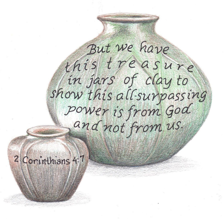 2 corinthians 4 clipart banner transparent Jars of Clay, Bible Verse art print, scripture design, hand lettered ... banner transparent