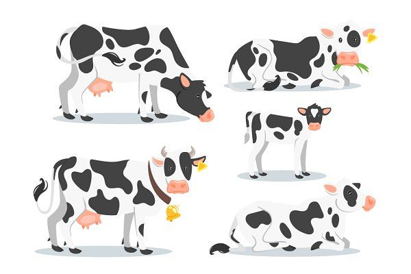 2 cows clipart clipart royalty free library Cow set - Graphics - 2 | cows clipart in 2019 | Cow clipart, Cow ... clipart royalty free library