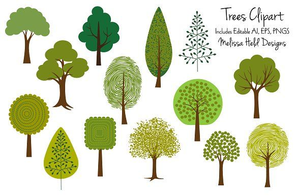 Tree Clipart 2 Graphics A collection of 14 updated and reworked ... clip art free stock