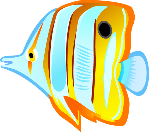 Ocean with tropical education. Fish in a tank clipart